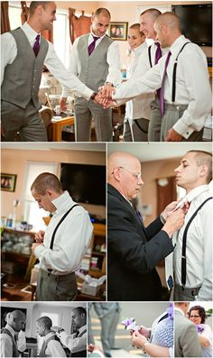 Groom + men getting ready