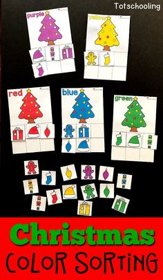 FREE printable Christmas themed color sorting activity for toddlers and preschoolers. Features 10 different colored Christmas trees as well as other Holiday items such as gingerbread man, stocking, present, nutcracker, ornament and hat.