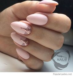 Lovely pink nails with pink glitter nail art