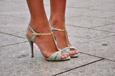 Light mint heels. Latest shoes trends 2016.: