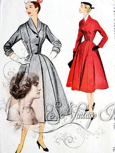 1950s FABULOUS Coat Pattern McCALLS 9274 Princess Style Full Skirted, Nip In Waist, Shawl Collar Classic Dior Design Bust 30 Vintage Sewing Pattern