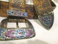 Vintage Cowgirl Western Boho Belt Glitter Enamel by retrosideshow