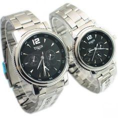 Os negros circulares moldura da tabela de luxo à prova dágua relógios casal