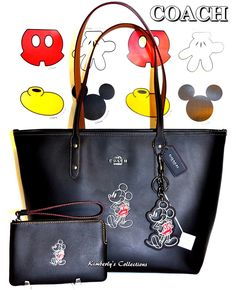 e957f9fec3d9 COACH X DISNEY LTD MICKEY MOUSE Black Leather Tote Bag