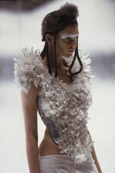 McQueen, 'the Overlook'  A/W 1999-2000 . Rock crystal bodice worn by Hannelore Knutz created by Kees van der Graaf for Alexander McQueen .