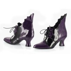 "Black Widow Shoes  Solemn—and sophisticated. Gusseted cobwebs that rise from the heels distinguish these from any shoes we've ever seen! Patent-finished polyurethane uppers on 2 1/2"" heels. Imported. Color: Purple."