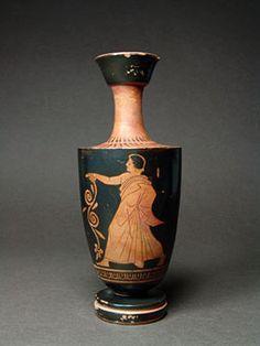 Όστρακο Αρχαία Τέχνη, αττική ερυθρόμορφη λήκυθος με τη νεολαία Holding…