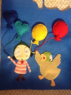 Sarah & Duck quiet book page, mostly finished,   My toddler loves it already, he can match up the balloons to right colours
