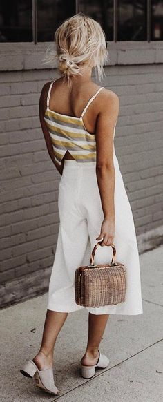 summer fashion outfit top + bag + pants