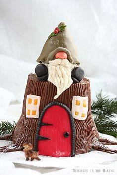 Memories in the Baking: Whipped Buttercream.cutest ever garden/gnome cake Christmas Log, Swedish Christmas, All Things Christmas, Christmas Crafts, Whipped Buttercream, Yule Log, Just Cakes, Specialty Cakes, Novelty Cakes