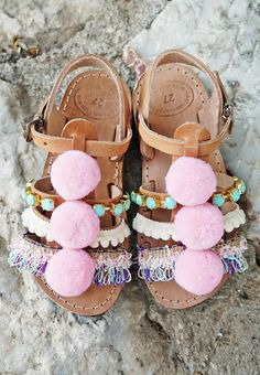 """Pom Pom """"Carousel"""" Sandals / Turquoise Resin Stones / Cotton Lace / Baby Kids…"""