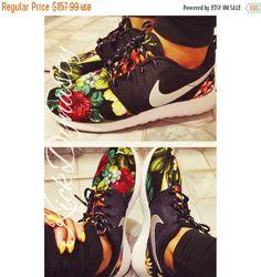 7d3c09fbc41e FALL SALE Hawaiian Tropical Floral Nike Roshe Run Custom Sneakers Nike  Flyknit