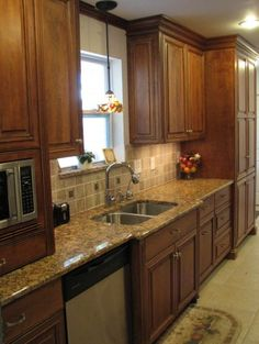 """2 of 4 for galley kitchen arrangement;   """"maybe this, but not the colors or anything but possible layout ideas."""