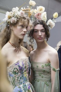 Julie Hoomans and McKenna Hellam backstage at Christian Dior Haute Couture Spring/Summer 2017