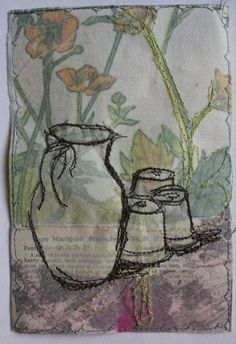 Cas Holmes | galleribba Free Motion Embroidery, Embroidery Art, Machine Embroidery, Fabric Postcards, Fabric Cards, Textile Fiber Art, Textile Artists, Thread Painting, Fabric Painting