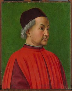Portrait of a Man. The identity of the sitter of this portrait is unknown. It is an early work by Ghirlandaio, and was probably painted at about the same time as a famous fresco cycle in the principal church of San Gimignano. The lively expression of the sitter explains why Ghirlandaio's portraits were so admired. The bright green background is the result of a cleaning that removed a layer of oxidized pigment.