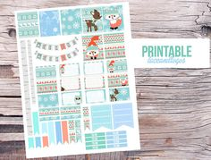 Printable Planner Stickers Winter Woodland Animals by LaceAndLogos