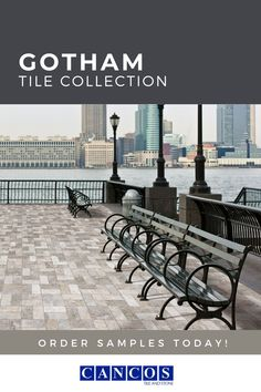 Looking for a great tile flooring, with a brick look, that withstand heavy traffic? Look no further than the Gotham Tile Collection from Cancos Tile and Stone! Visit our website and order your sample today! Brick Tile Floor, Brick Look Tile, Tile Flooring, Outdoor Tiles, Outdoor Spaces, Outdoor Decor, Gotham, Commercial, Patio