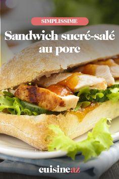 Une recette originale de sandwich sucré-salé au porc à la confiture d'orange. #recette#cuisine#sandwich#sucresale #porc Sandwiches, Chicken, Ethnic Recipes, Original Recipe, Pork, Sugar, Paninis, Cubs