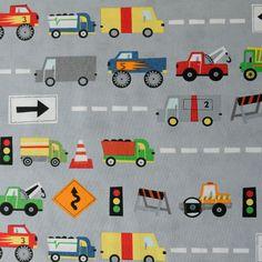 Stof - Vrachtwagens grijs