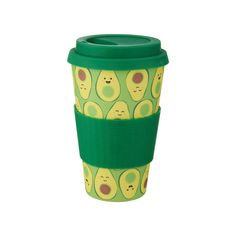 Happy Avocado Bamboo Coffee Cup available to buy direct from Sass & Belle. Charming gifts and homeware, designed with love. Avocado Baby, Cute Avocado, Avocado Gifts, Cute Water Bottles, Vw Vintage, Sass & Belle, Reusable Coffee Cup, Things To Buy, Coffee Cups