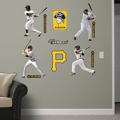Pittsburgh Pirates Power Pack Fathead Wall Graphic | Pittsburgh Pirates Wall Decal | Sports Decor | Baseball Bedroom/Man Cave/Nursery