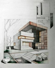 Modern House Drawing Sketch with Color. 20 Modern House Drawing Sketch with Color. 25 Best Looking for Modern House Drawing with Color Architecture Design Concept, Stairs Architecture, Modern Architecture House, Architecture Drawings, Facade Design, Interior Architecture, Brick Design, Landscape Architecture, Photo D'architecture
