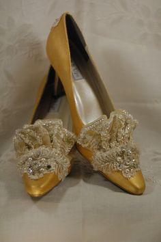Gold & Ivory Beaded Marie Antoinette Shoes