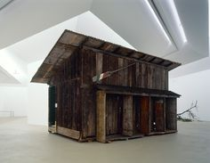 Simon Starling, Shedboatshed (Mobile Architecture No. 2), 2005, Wooden shed, 390 x 600 x 340 cm, Installation view, 'Cuttings', Museum fur Gegenwartskunst, Basel, 2005