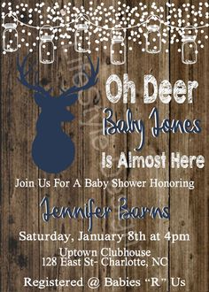Rustic Baby Shower Invitation – Oh Deer – Winter Baby Shower – Rustic Invite – Babyshower – Snow Baby – Baby Buck On The Way – Deer – - Baby Shower Games Hunting Baby Showers, Deer Baby Showers, Rustic Baby Showers, Baby Shower Boys, Bridal Showers, Baby Shower Winter, Baby Winter, Baby Shower Themes, Baby Shower Decorations