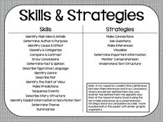 Reading Comprehension Skills Book List -- lists book and the ...