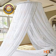 HGL Elegant White Round Bed Canopy Mosquito Net Resort Stylish Princess Bed Canopy Bedroom Curtain Cover Gauze Repeller Princess Mesh 2 Openings * More info could be found at the image url.