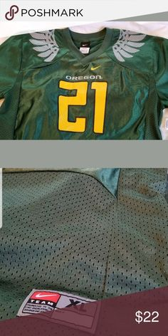 905488fcb Nike Team Oregon Ducks Green Football Jersey Nike Team Oregon Ducks Green  Wings Football Jersey Boys Youth XL Extra Large Numbers and letters are  screen ...