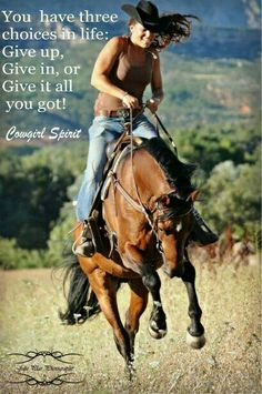 Let's hear it for that cowgirl spirit!  YES!  Give it all you got!  #eecustomhorseshoes #horses #cowgirls