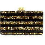 Edie Parker Black & Gold Acrylic Clutch
