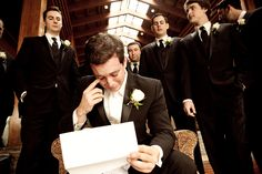 Groom reading a letter from the bride before the wedding...such a cute idea