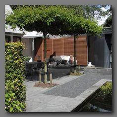 Klassieke tuin met buxus haagjes en nostalgische terra lucca antica gebakken klinkers van - Arbor pergola goedkoop ...
