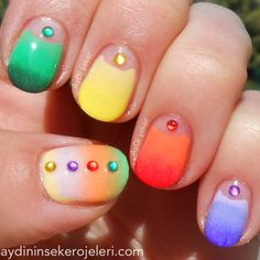 Colorful half moon gradient mani with nail jewels