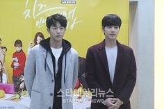 """Watch: """"Cheese in the Trap"""" Park Hae Jin and Nam Joo Hyuk Host Free Hug Event"""
