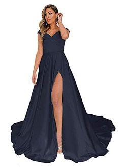 90bcdf8858 Beiqian Womens A Line Offf Shoulder Split Prom Evening Dresses Long Formal  Gown (Navy
