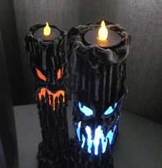 "13"" tall, made of paper mache, mounted on a led color changing light box. The light box lights up the inside and a tea lite sits securely on the top.  Both the light box and the tea light are battery operated and reusable. Via HouseofDewberry on Etsy"