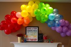 Rainbow Birthday Party ballon banner