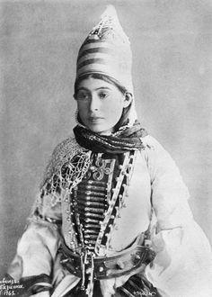 Kabardian girl 19th century. From the north Caucasus. Circassia