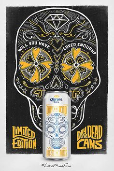 Creative Beer, Corona, Day, Dead, and Packaging image ideas & inspiration on Designspiration Beer Packaging, Brand Packaging, Packaging Design, Oh Beautiful, Sugar Skull Design, Fete Halloween, Mexican Designs, Skull Decor, 3d Models