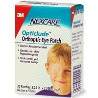 Nexcare Opticlude Orthoptic Eye Patches, Regular Size, 20-Count Boxes (Pack of 4) by Nexcare. $7.84. Doctor Recommended.  Gentle-to-skin; Hypoallergenic. Sticks well, yet removes easily. Highly breathable backing -10 times better than Coverlet™. Comfortable to wear. Absorbent non-stick pad. Ideal for treating Strabismus (lazy eye) and for use on tender skin. 20Patches ~ 3.25in x 2.25in(82mm x 57mm) oval. Questions? 1-800-537-2191. Coverlet™ is a trademark of Beiersdo...