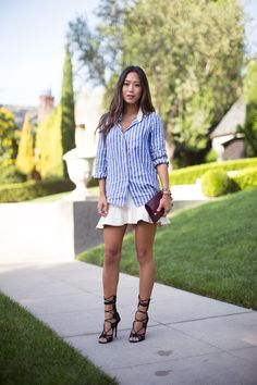 Song of Style: Striped Shirt and Ruffle Skirt