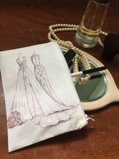 Cosmetic/Jewelry Bag with Custom Bridal Gown Illustration by MeganHamilton on Etsy https://www.etsy.com/listing/507514687/cosmeticjewelry-bag-with-custom-bridal