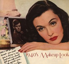 1940's makeup, with very little access to cosmetics, women stuck with powder, rouge, and lipstick. Brows are more natural. Only movie stars wore more products, really.