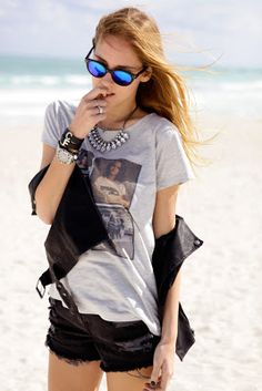 Chiara Ferragni of The Blonde Salad is spotted here on the beach adding sparkle to her rock and roll Miami outfit! Enter here at www.getgumball.com to #win a FREE Jeweled Bib Necklace by ASOS! #giveaway #free #fashion