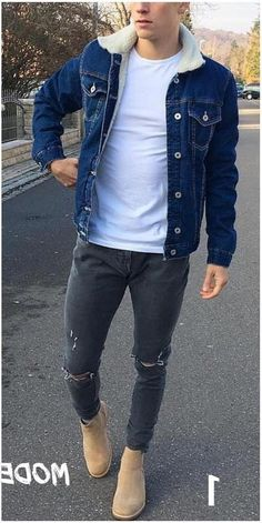 Winter Outfits Men, Stylish Mens Outfits, Casual Outfits, Men Casual, Fashion Outfits, Denim Jacket Men, Men's Denim, Denim Style, Mode Man